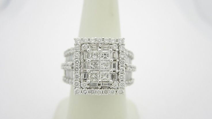 With Papers 14k White Gold 3 0 CTW Diamond Engagement Ring Sz 7 1 4 7 25 R905 | eBay