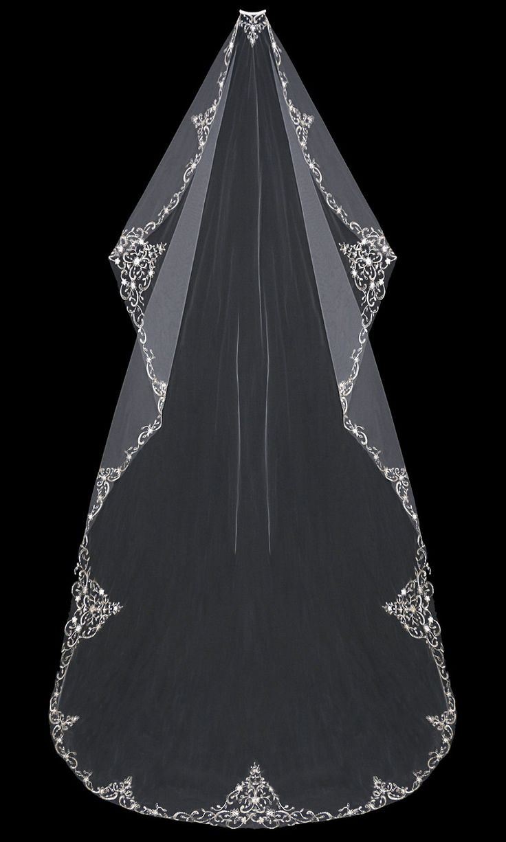 Mantilla Bridal Veil with Silver Embroidery Sequins and Rhinestones   Cassandra Lynne