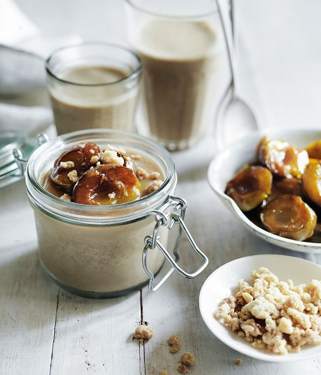 Baked greengages with liquorice panna cotta and ginger crumb recipe :: Gourmet Traveller