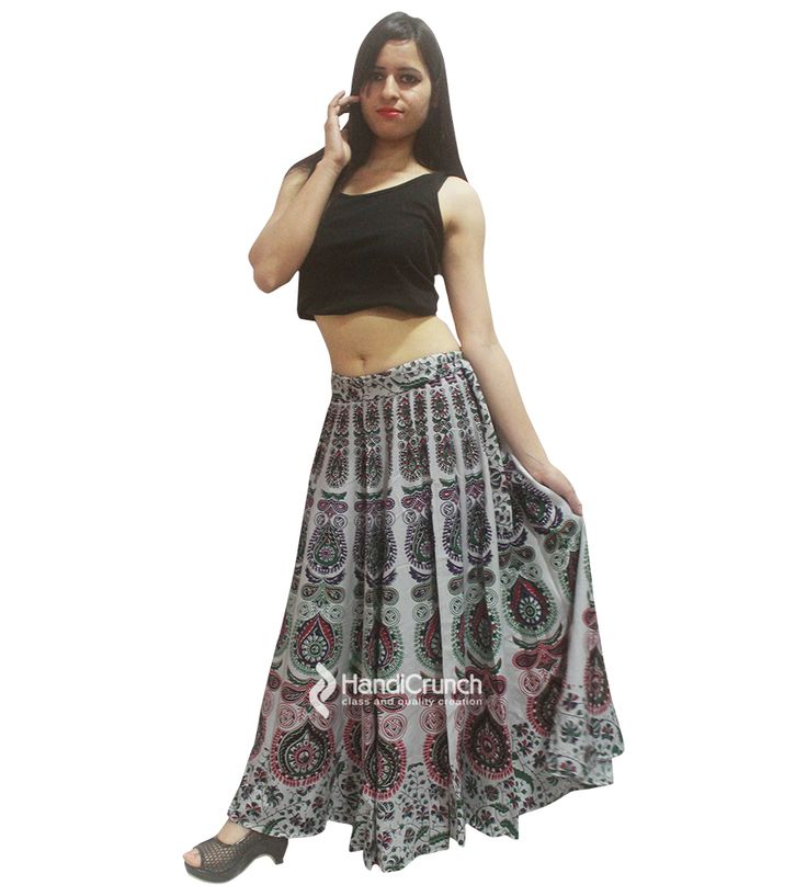 Light green color mandala designed long rapron skirt