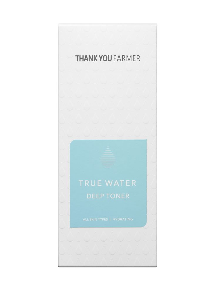 Thank You Farmer True Water Toner is a refreshing post-cleanse toner quenches the skin's thirst with its blend of botannical extracts to increase hydration, firmness and suppleness.