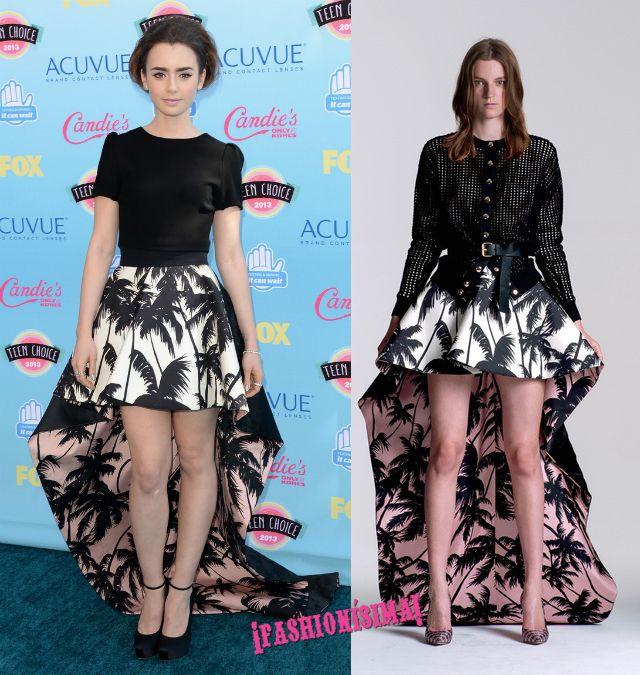 Lily Collins de Fausto Puglisi en la gala de los Teen Choice Awards 2013