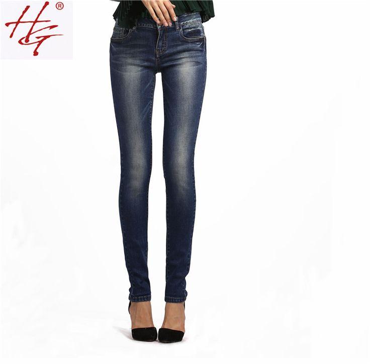 HG # X13 2015 осеннем стиле середины талии узкие джинсы женские синий джинсовые брюки женщины сексуальная карандаш брюки высокой качество