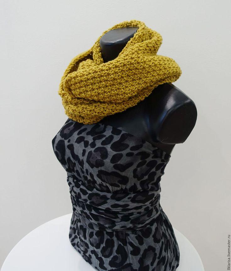 """Купить шарф-снуд """"листопад"""" - однотонный, горчичный цвет, снуд вязаный, снуд в два оборота"""