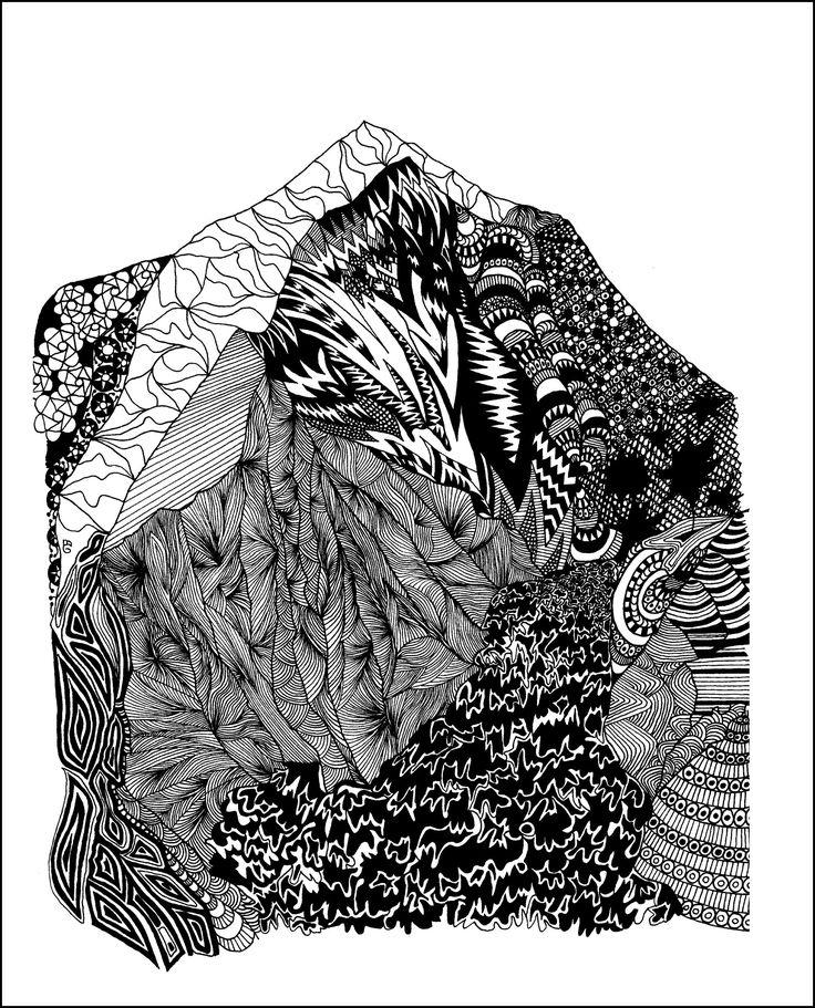 Dhaulagiri Tuschezeichnung Copyright by mgbergbilder / Gabriele Maier