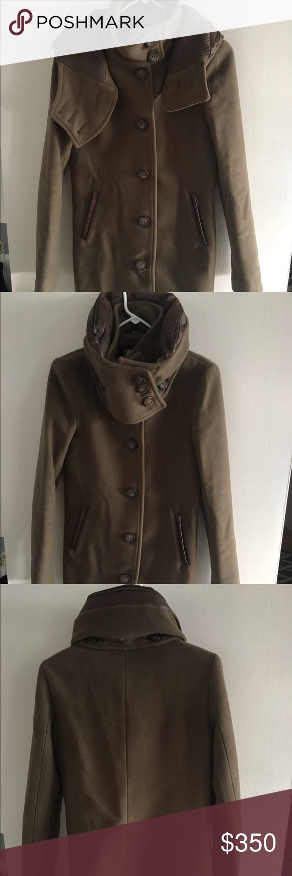 Mackage Tan Wool Jacket with Leather details RARE Funnel neck wool gorgeous tan Mackage jacket. It has leather detail around collar and on pockets with matching tan buttons. Hits me at mid thigh and I'm 5'3. Gorgeous buttery amazing Mackage jacket. The pictures truly don't do it justice. Mackage Jackets & Coats