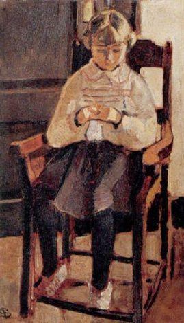 1862-1939 Lille strikkende pige by Fritz Syberg