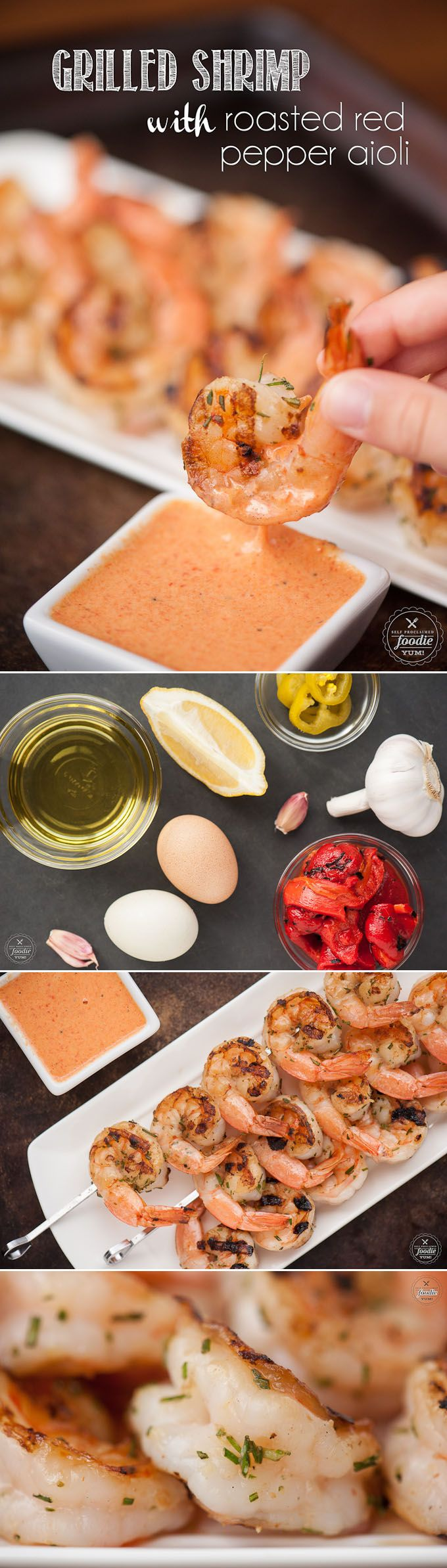 This red pepper marinated Grilled Shrimp with this scratch made Roasted Red Pepper Aioli makes the perfect flavorful summer appetizer or dinner.