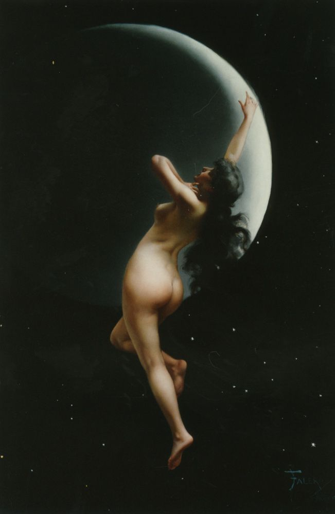 """Nothing is more beautiful than you wearing only the moonlight and my kisses."" AUTHOR UNKNOWN......The Moon Nymph, Luis Ricardo Falero"