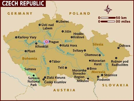 The Czech Republic, is a landlocked country in Central Europe. The country is bordered by Germany to the west, Austria to the south, Slovakia to the east and Poland to the north. Its capital and largest city, with 1.3 million inhabitants, is Prague. Capital: Prague. Dialing code: 420. Currency: Czech koruna. President: Václav Klaus. Government: Parliamentary republic. Official language: Czech Language