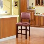 Monaco 24 in. Red Chinese Maple Cushioned Bar Stool, Brown