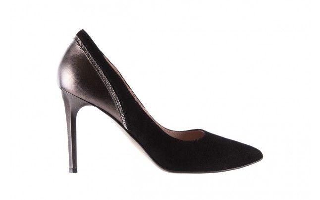 Bayla 097 17 Czarne Szpilki Czarno Srebrne Szpilki Bayla Wykonane Z Polaczenia Czarnej Skory Zamszowej I Metalicznej Skory Lico Stiletto Heels Stiletto Heels