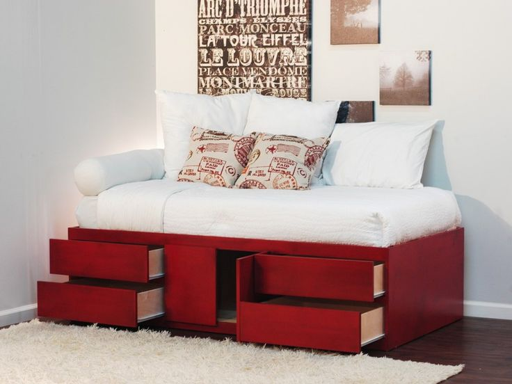 Extra Long Twin Storage Bed Birch Wood