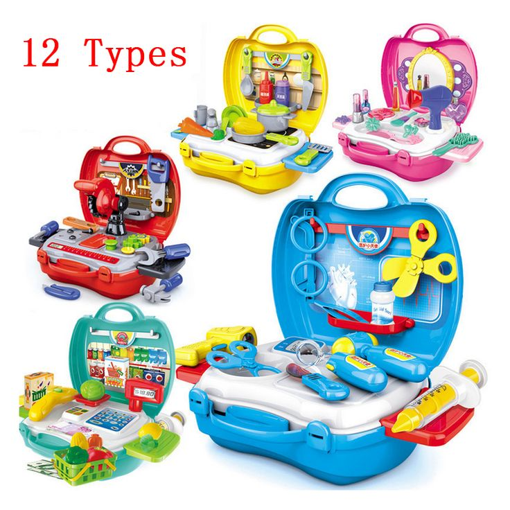 12 Tipos de Juegos de imaginación Los Niños de simulación de cocina vajilla de cocina vestirse caja registradora maleta Niños doctor conjunto de juguete de Plástico