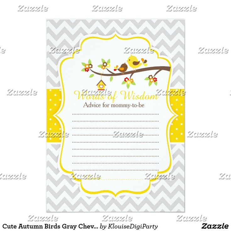 Cute Autumn Birds Gray Chevrons Words of Wisdom Card