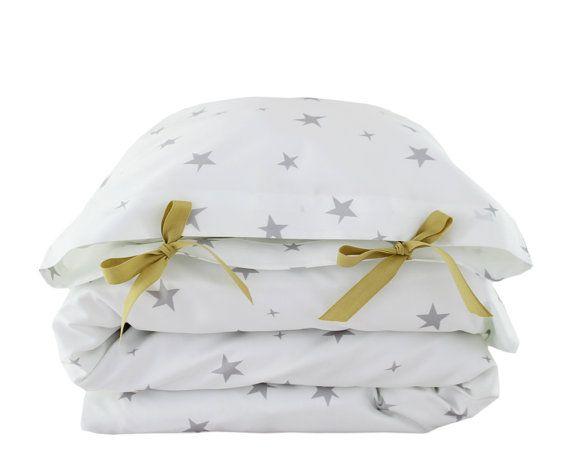 ORGANIC Toddler Bedding set  Stars  grey by ColetteBream on Etsy