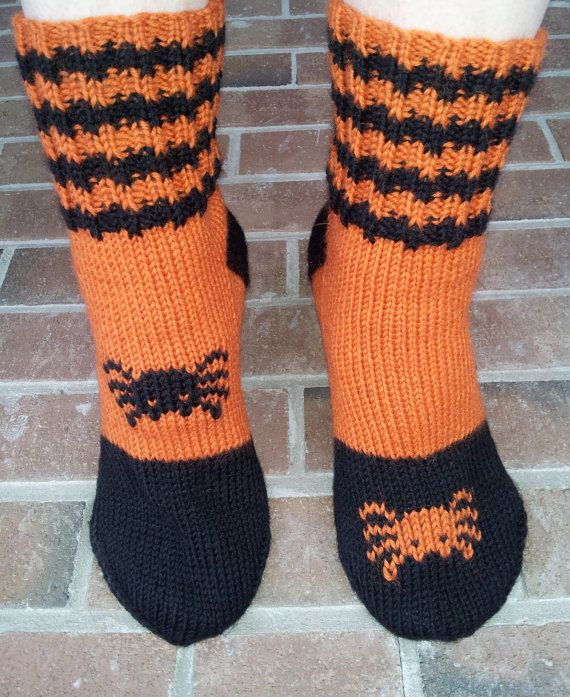 Hand knitted Halloween wool socks, size 7-8