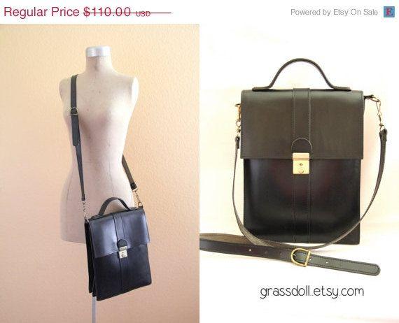 ON SALE Vintage Black Vertical Leather Shoulder Bag  by grassdoll, $93.50