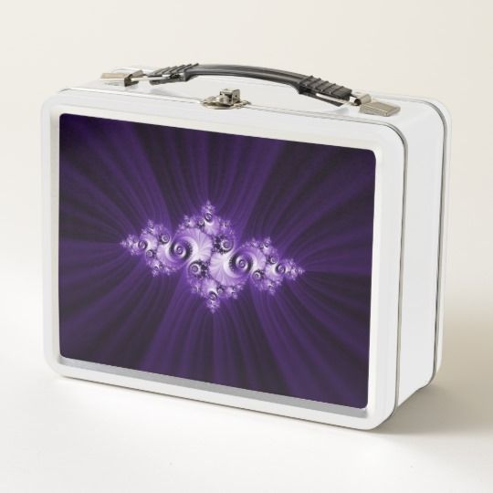 customized, personalized, photo, photography, artwork, buy, sale, gift ideas, zazzle, shop, discount, white, fractal, julia, purple, mandelbrot, beautiful, pretty, pattern, lilac, lace, feminine, girly, gift, girls, women, dark #fractal #abstract #purple #lace #lunchbox #metallunchbox