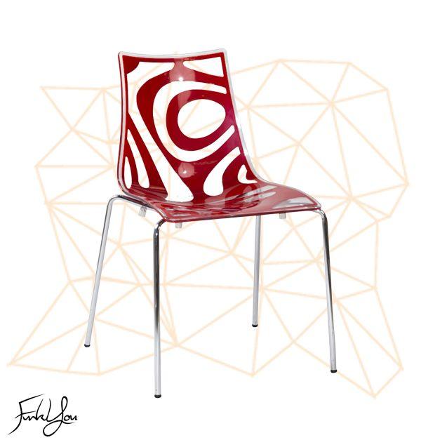 Wave Chair - Transparent / Red. www.funkyou.com.au