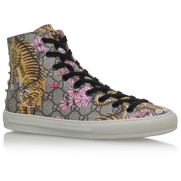 Gucci High-Top Tiger Sneakers ($570) ❤ liked on Polyvore featuring shoes, sneakers, hi tops, high top shoes, high-top sneakers, gucci sneakers and studded shoes