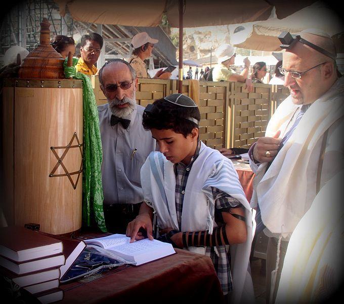 Jewish boy reads Bar Mitzvah