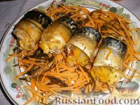 Фото к рецепту: Рулетики из скумбрии