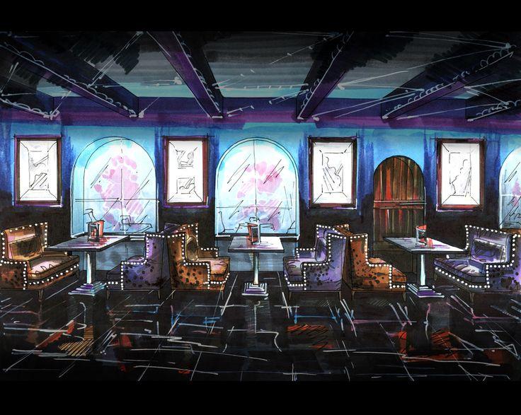 my idea restaurant night club sketch copic vip zone cafe bar design interior