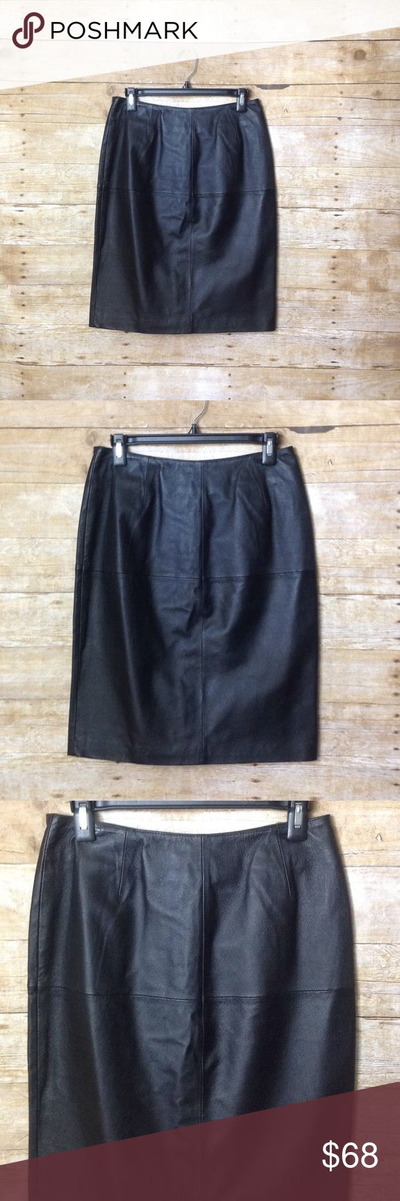 Newport News Sexy Black Leather Pencil Skirt Sz 8 Newport News Brand- Size 8 Black Leather Skirt- High Quality- New With Tags- Fast Shipping Newport News Skirts Pencil