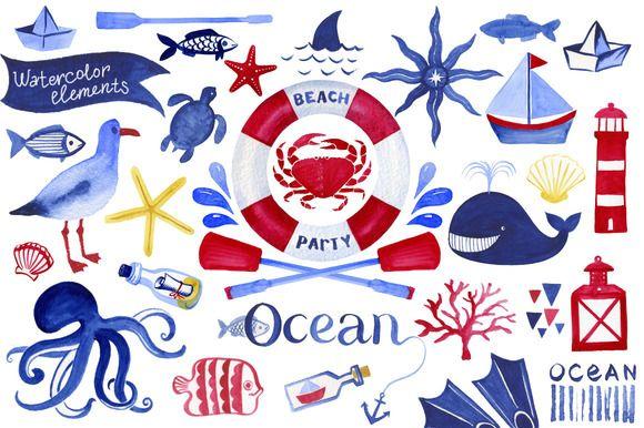 63 Ocean watercolor elements by Samira on Creative Market