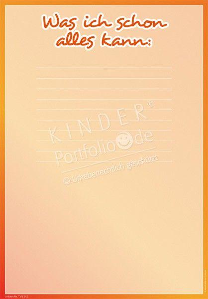 Kindergarten Portfolio Vorlage - TVB012 - Was ich schon alles kann - Portfoliovorlage - Vorderseite