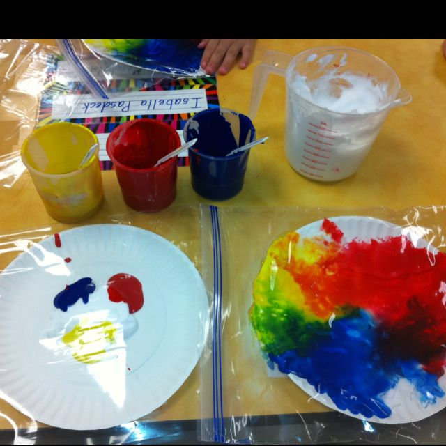 Non Messy Mouse Paint Activity! I used a mixture of shaving cream and glue to help thicken it, paper plates, red, yellow & blue paint, and ziploc baggies. We used the ziploc bags to make it non messy! The kiddos loved it! While they were mixing the colors, they also made shapes and wrote their names! :)