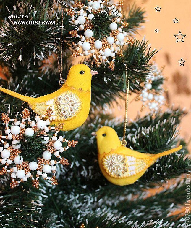 Купить Птицы в зимнем саду (Канарейки, Набор 2шт.) - желтый, птицы, птица