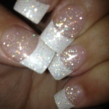 Acrylics...white tips, glitter powder, gel topcoat. Nobody does it better! | Yelp