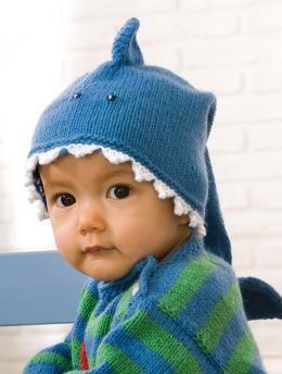 """Mütze""""Haifisch"""", 6735 - Gratisanleitung: Zum Anbeißen süß ist diese Mütze aus Schachenmayr Merino Extrafine 120"""