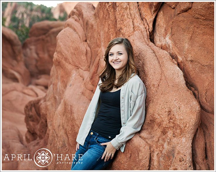 Garden of the Gods is a great place for photos year round because even if it's in the dead of winter the rocks provide beautiful color. April O'Hare Photography #GardenoftheGods #ColoradoSprings #ColoradoHighSchoolSenior