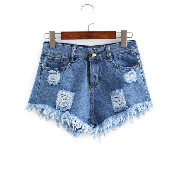 Ripped Raw Hem Denim Shorts ($23) ❤ liked on Polyvore featuring shorts, jean shorts, denim shorts, blue shorts, torn shorts and patterned shorts