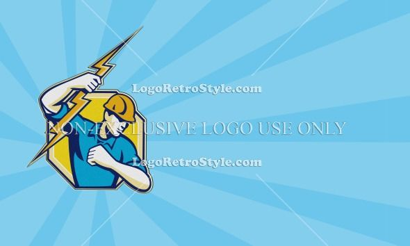 Business card ideal for electrician showing illustration of an electrician construction worker holding a lightning bolt done in cartoon styl...