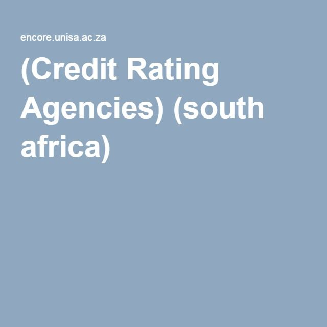 (Credit Rating Agencies) (south africa)