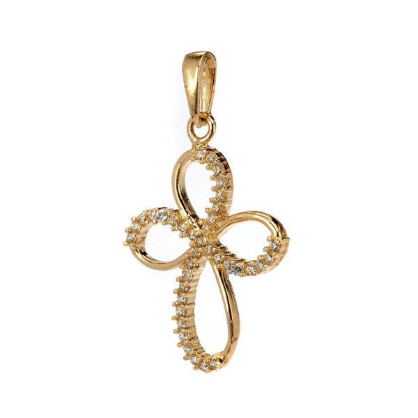 Σταυρός γυναικείος  χρυσός  ζιργκόν  Κ14  7933