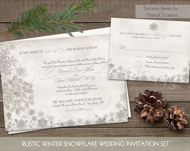 Winter Wedding Invitation Elegant Snowflake by NotedOccasions