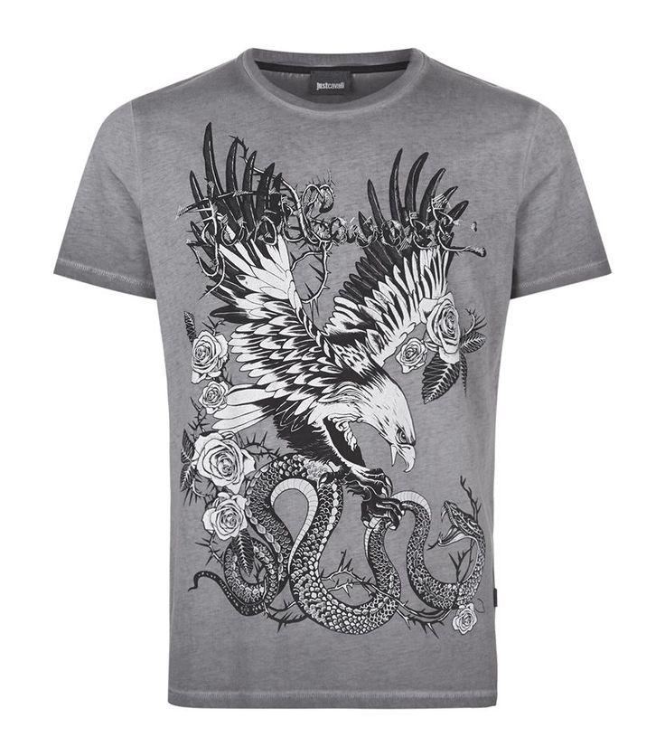 Just Cavalli Eagle Snake Print T-Shirt, Grey. £ 130.00 #JustCavalli #TShirt #mensfashion #malefashion #menswear http://www.harrods.com/product/eagle-snake-print-t-shirt/just-cavalli/000000000005283044?cat1=new-men&cat2=new-men-tshirts#