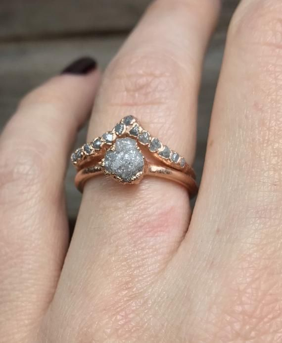Rose Gold Engagement Ring Set Alternative Engagement Ring Raw