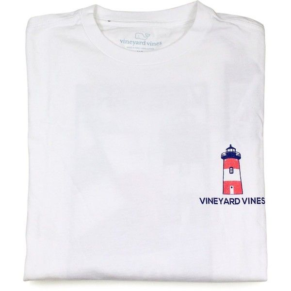 Vineyard Vines Mens White Cap Lighthouse Poster LS Graphic T-Shirt ($40) ❤ liked on Polyvore featuring men's fashion, men's clothing, men's shirts, men's t-shirts, tops, shirts, basic tees, t-shirts, mens t shirts and mens graphic t shirts