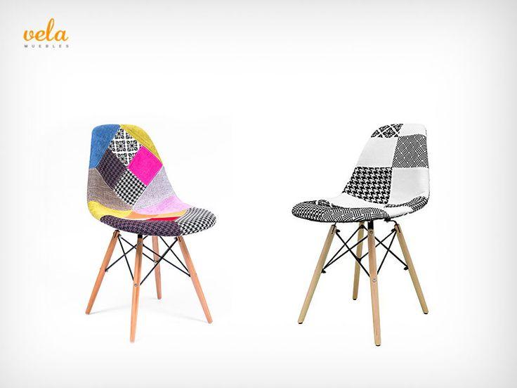 Silla Eames Patchwork. Otro modelo super original, difertente y vintage. Echa un vistazo y míralas de cerca ahora