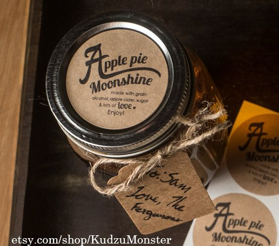 Apple Pie Moonshine set of 20 round 2inch kraft mason jar labels, text can be customized  https://www.etsy.com/shop/KudzuMonster