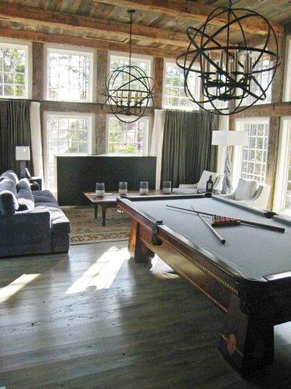 game room- non-traditional lighting for a pool table