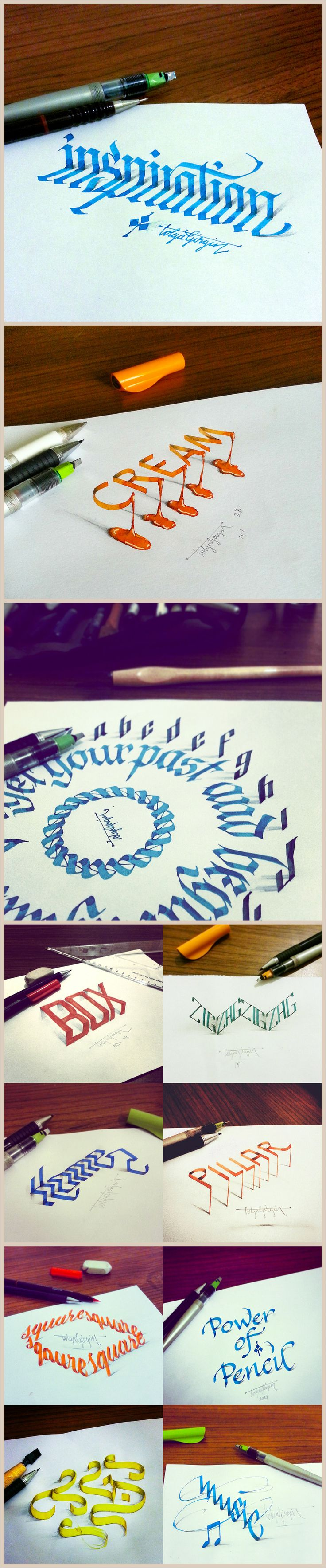 3D Calligraphy Experiments: Turkish graphic designer Tolga Girgin experiments with 3D calligraphy. Using shading and shadows Girgin creates three-dimensional letters that float, stand, drip, and slant.