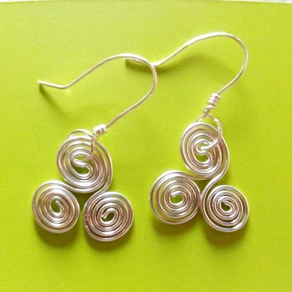 silver Celtic swirl earrings. made in Ireland. by terramor on Etsy