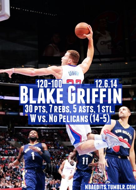Blake Griffin soars to a win! - 12.6.14 - W vs. New Orleans Pelicans - http://nbafunnymeme.com/nba-best-players-of-the-day/blake-griffin-soars-to-a-win-12-6-14-w-vs-new-orleans-pelicans